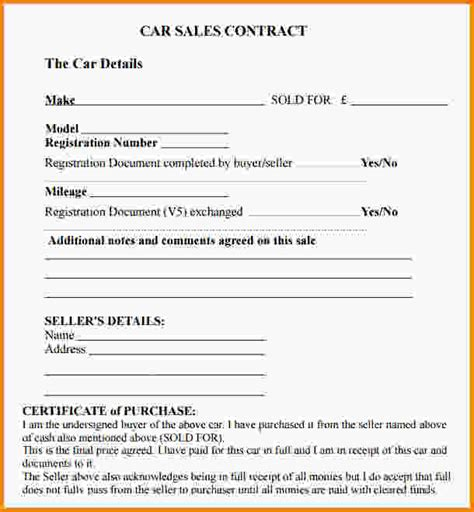 sales agreement template car sales contract template jpg