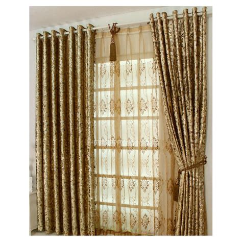 Gold Coloured Curtains Silk Brocade Fabric Golden Brown Green Color