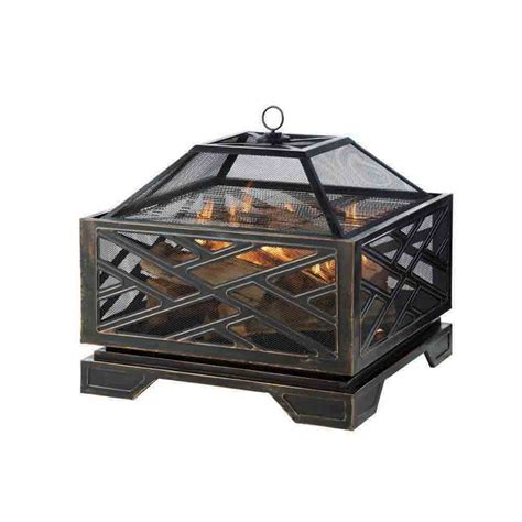 steel wood burning pit shop pleasant hearth 26 in w rubbed bronze steel wood