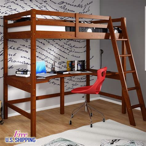 double loft bed with desk wooden loft bed twin workstation desk bunk bunkbed wood