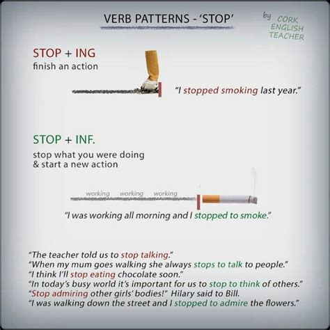 verb pattern to ing verb patterns stop ing and stop inf learning