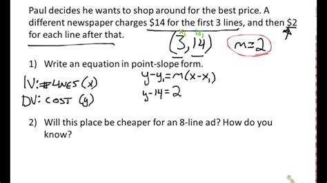 slope word problems worksheet writing slope intercept equations from word problems