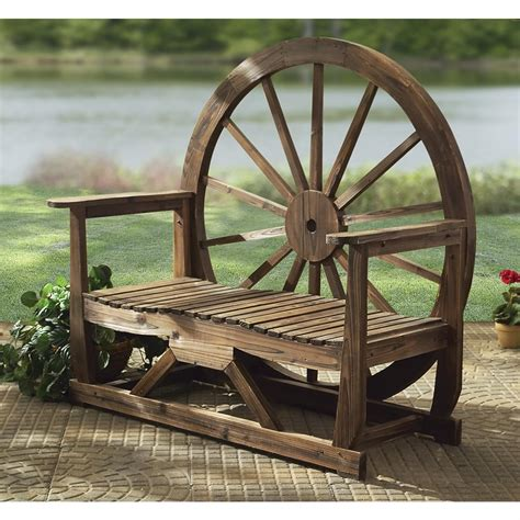 wooden wagon wheel bench wood wagon wheel bench 131147 patio furniture at