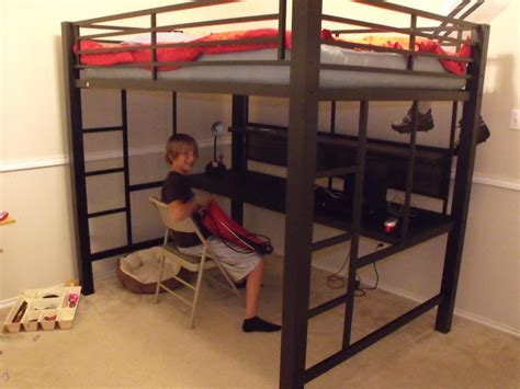 full size loft beds black metal full size loft bed with long desk underneath
