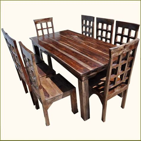 9pc solid rosewood dining table 8 chairs set with