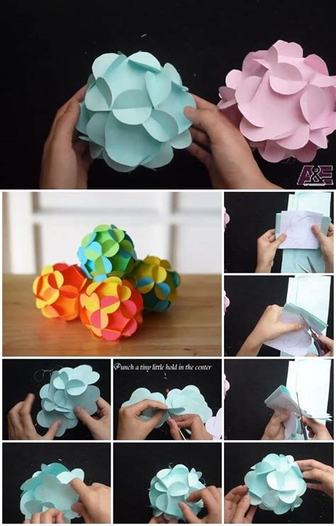 3d paper flower ball pattern amazing diy paper craft ideas step by step k4 craft