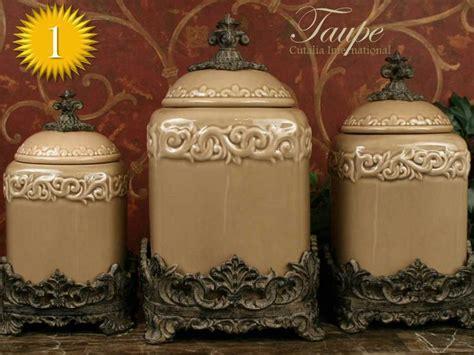 "Drake Design ""Taupe"" Large Kitchen Canister Set of 3 (Top"