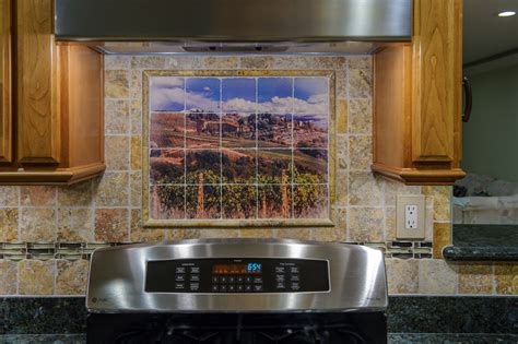 kitchen tile murals tile backsplashes placement the mural backsplash is one alternative for
