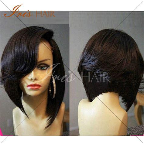 how to cut black hair in a bob hot 7a brazilian human virgin hair bob cut wigs short lace