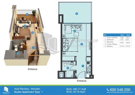 riviera apartments studio apartment floorplan layout 1 azizi riviera in dubai