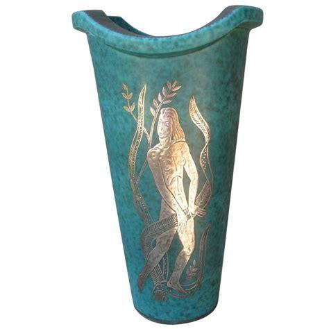 Figure Vase by Gustavsberg Argenta Vase With Silver Overlay Figure