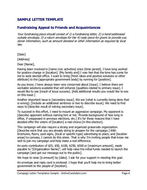 Fundraising Endorsement Letter Political Caign Letter Templates Sle