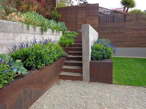 Concrete Garden Wall Concrete And Corten Retaining Wall Wyatt Studio For