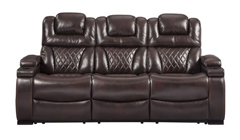 power reclining sofa with adjustable headrest warnerton chocolate power reclining sofa with adjustable