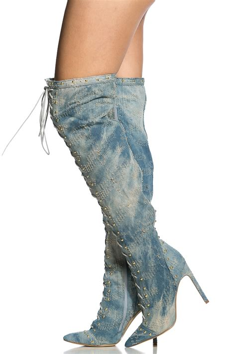 washed denim lace up thigh high boots cicihot boots