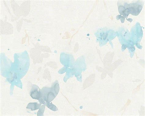 sample floral blossom wallpaper  ivory  light blue