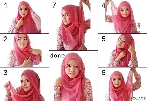 gambar tutorial hijab unik gambar cara pakai selendang gaya ringkas cantik
