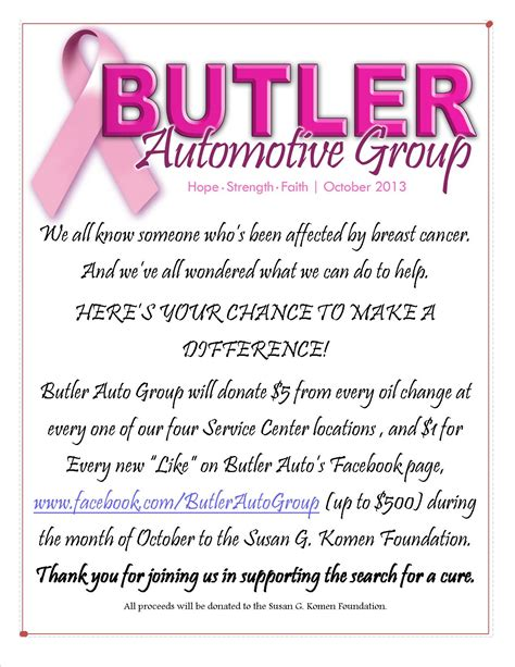 Fundraising Letter For Breast Cancer Donation Butler Hyundai