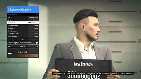 gta v online facial hair color gta online asian male character customization youtube
