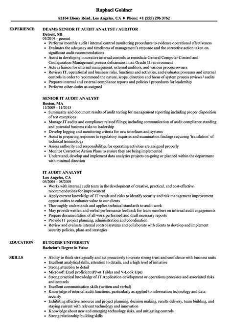 Audit Analyst Sle Resume by It Audit Analyst Resume Sles Velvet