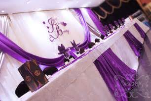 purple silver and white wedding table decorations table decorated with white crinkled linen and purple
