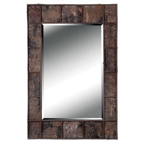 bathroom mirrors overstock jobi birch bark wood wall mirror overstock shopping