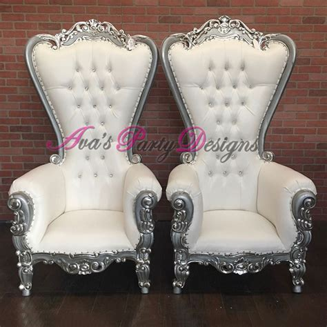 white  silver duchess highback chairs  party rental great   baby shower chair wedding