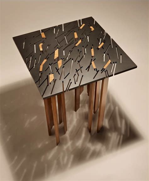 unique table with random slice pattern square tind table