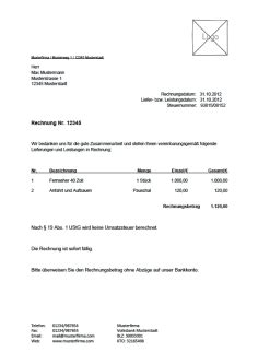 Rechnung Kleinunternehmer Ust Rechnungsvorlage Musterrechnung Kostenlos Lexoffice