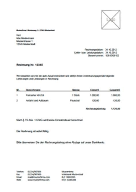 Kleinunternehmer Rechnung Nach 19 Ustg rechnungsvorlage musterrechnung kostenlos lexoffice
