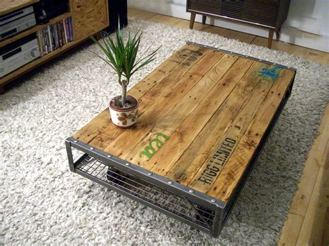 table basse palette industrielle industrial pallet coffee table