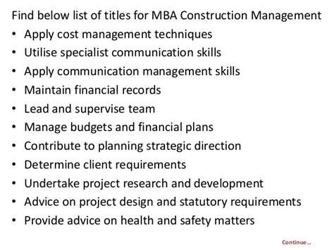 Mba In Construction Management In Mumbai by Project Report Titles For Mba In Construction Management