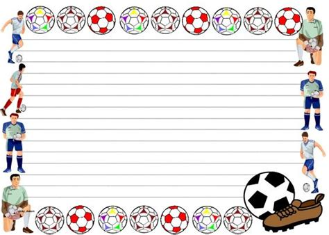 lined paper with sports border a set of lined paper and pageborders for your sports or