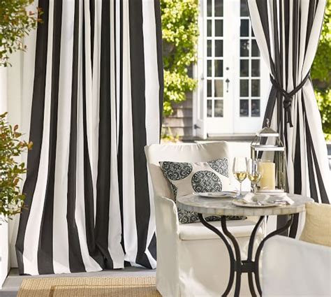 pottery barn outdoor drapes sunbrella 174 awning stripe indoor outdoor grommet drape