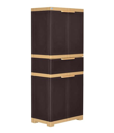 nilkamal freedom 4 door large cabinet with drawer brown