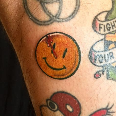 watchmen tattoo colorful comedian s smiley pin watchmen by