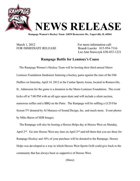 template for press release about event zzzzzz romeoville rage s hockey club