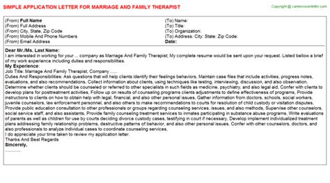 Family Therapist Cover Letter by Marriage And Family Therapist Title