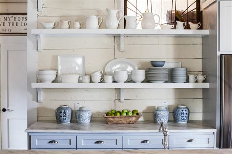 kitchens with open shelving the benefits of open shelving in the kitchen hgtv s