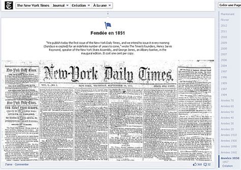 le  york times affiche son premier numero sur la