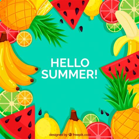 colorful fruit summer background with colorful fruits vector free