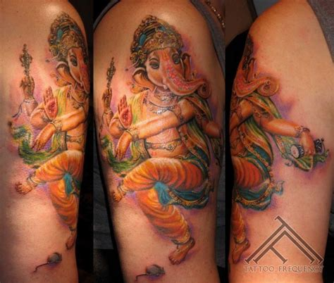 colorful elephant tattoo on shoulder colorful shoulder tattoo of hinduism elephant god