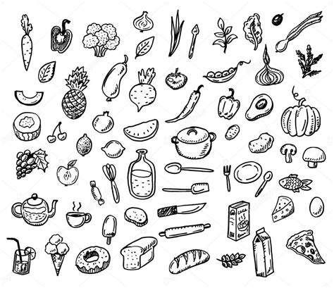 doodle food icons vector doodle healthy food icons set stock vector 169 teploleta
