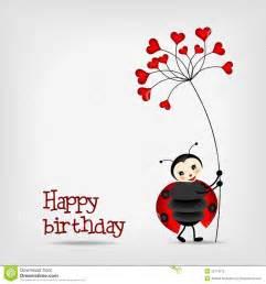 ladybug with flower birthday card stock photo image