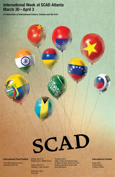 scad portfolios scad atlanta international week poster design on scad