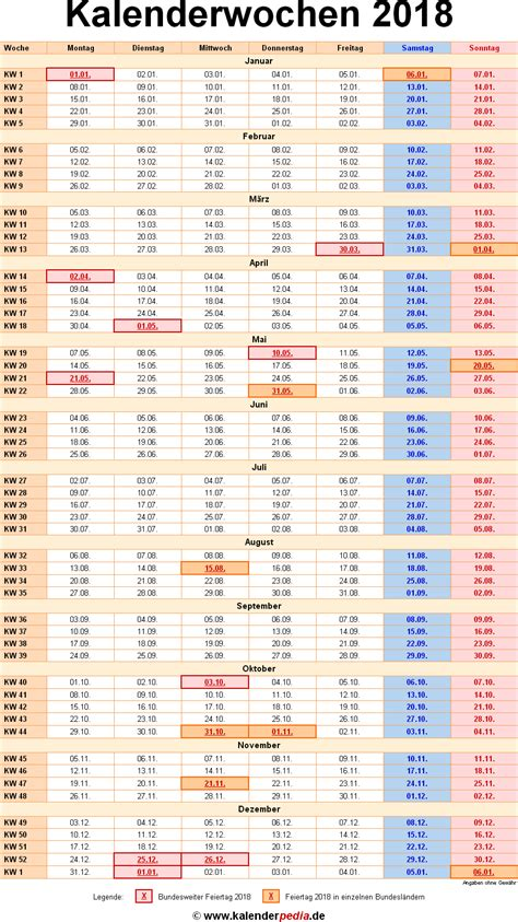 Kalender 2018 Mit Wochen Kalenderwochen 2018 Mit Vorlagen F 252 R Excel Word Pdf