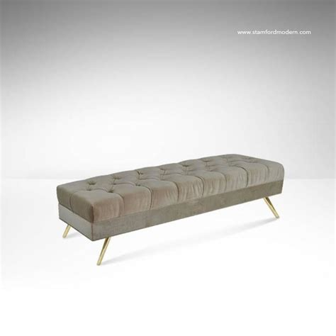 velvet tufted bench tufted velvet bench on brass 1950s at 1stdibs
