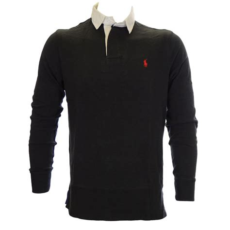 Poloshirt Ralflauren polo ralph custom fit rugby solid black polo shirt polo ralph from n22 menswear uk