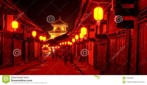 l and lantern village old china town red lantern night royalty free stock image