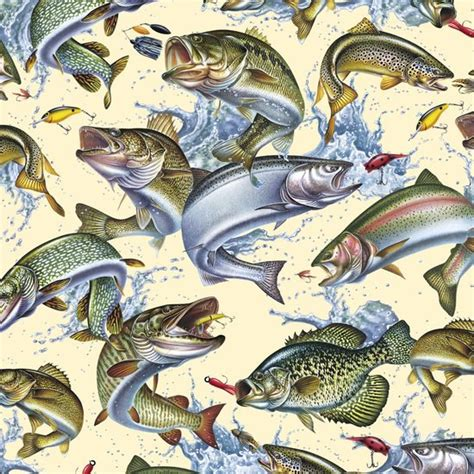 Fishing Quilt Fabric by Reel It In Fishing Cotton Fabric By Quilting By